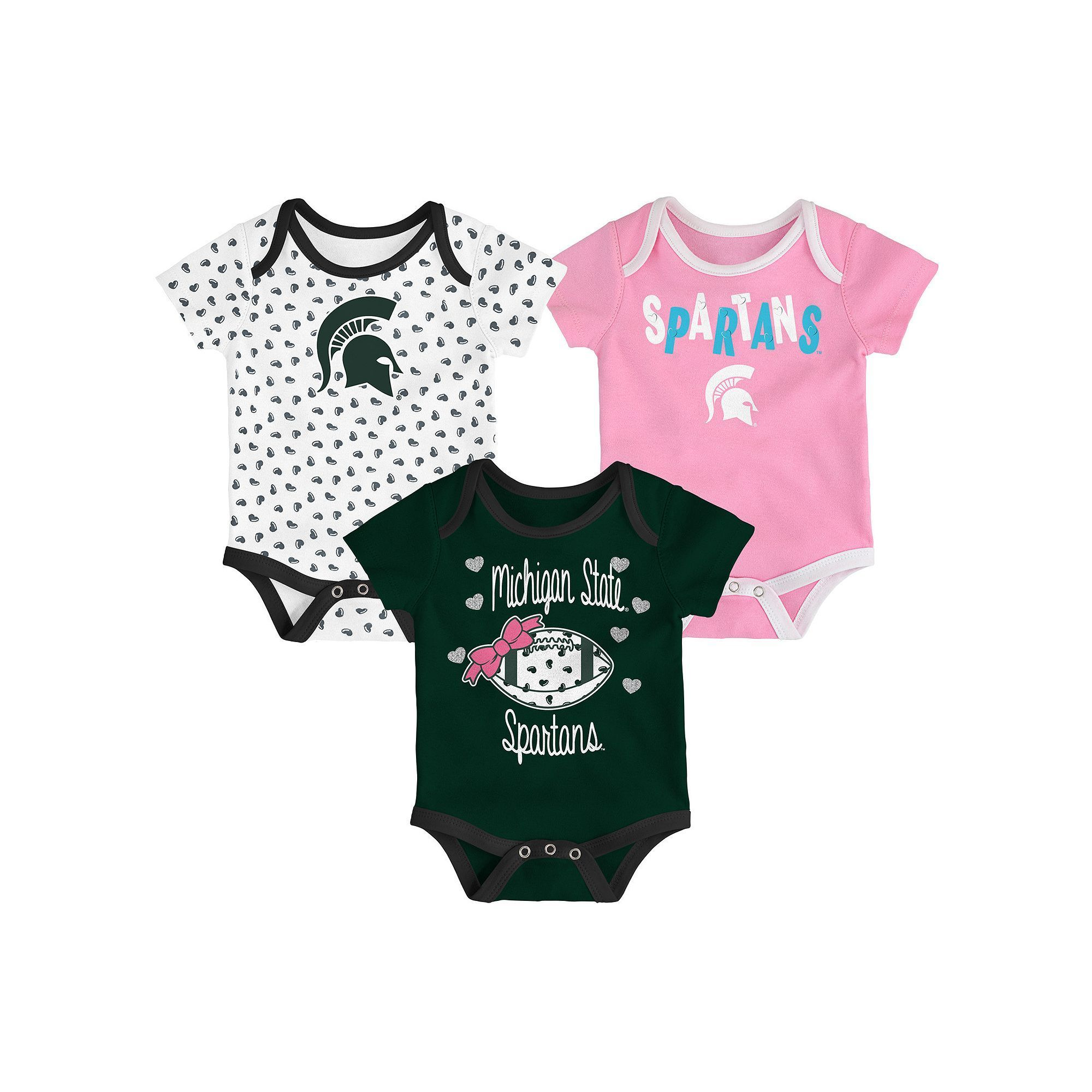 NCAA Baby Michigan State Spartans Heart Fan 3 Pack Bodysuit Set