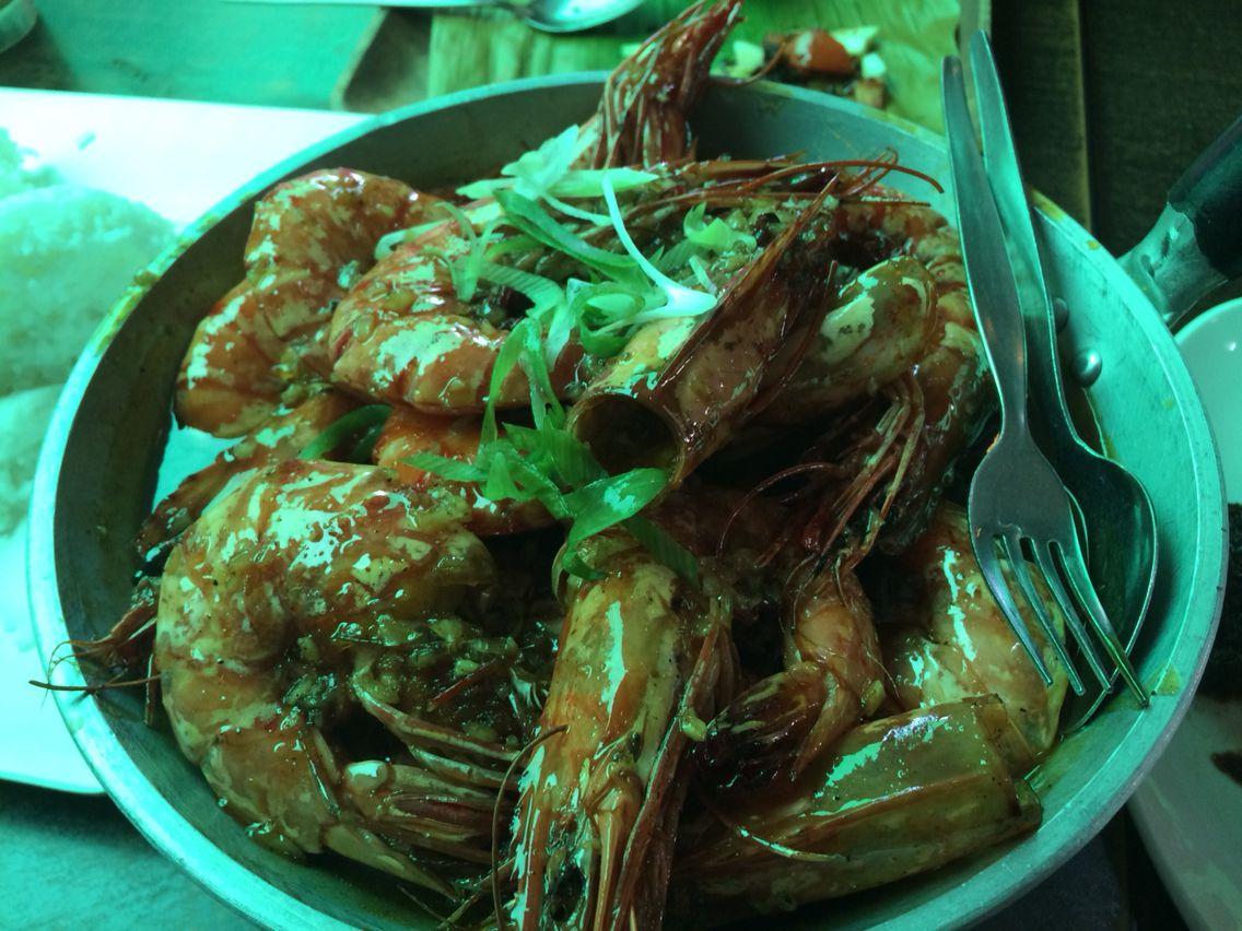 Garlic butter shrimp at Dampa in Manila