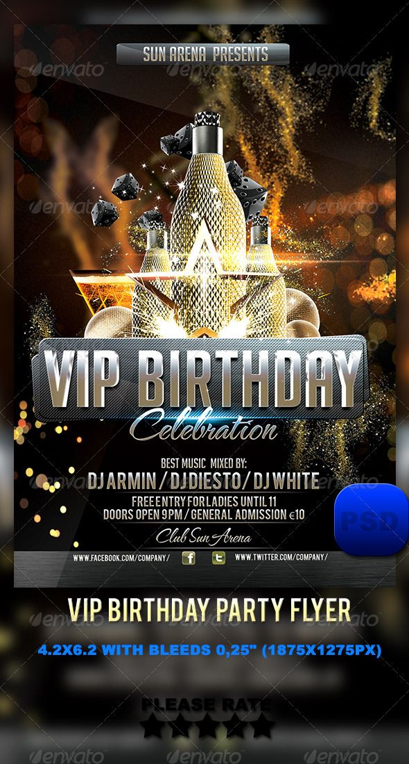 VIP Birthday Party Flyer Pinterest Party flyer, Vip and Print