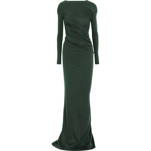 Vionnet Ruched wool-jersey gown (71510 RSD) ❤ liked on Polyvore ...