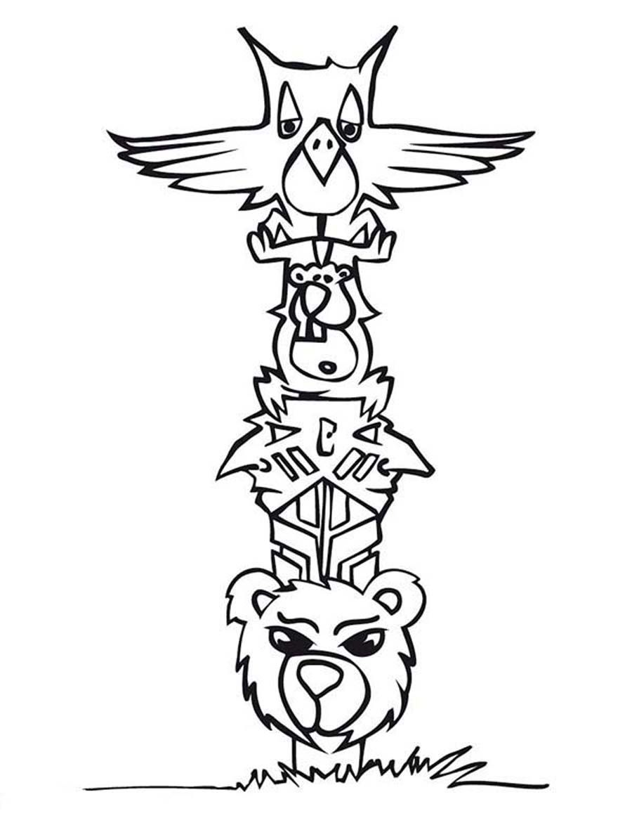 Free Coloring Pages Of Totem Pole Ber