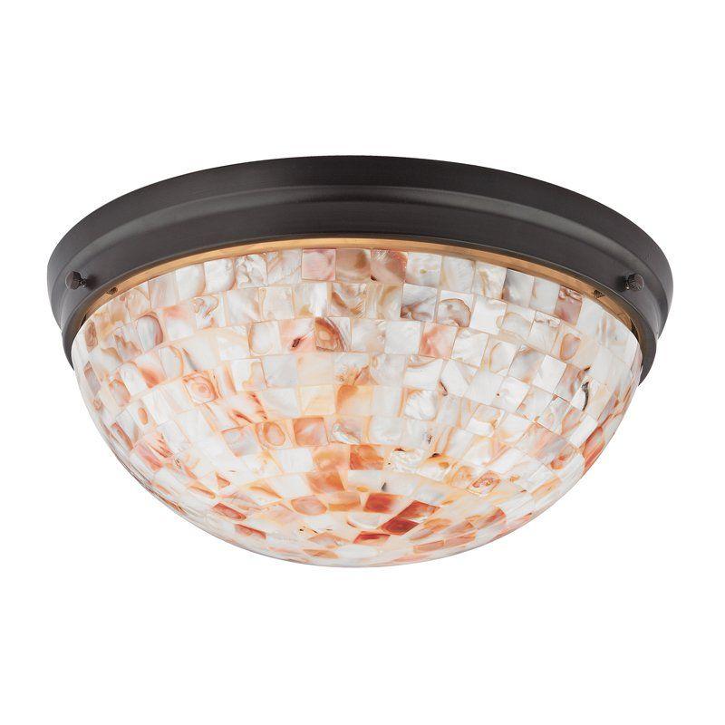 View The Cornerstone Lighting 1702FM Berkley 2 Light Flush Mount Ceiling  Fixture With Mosaic Glass Shade
