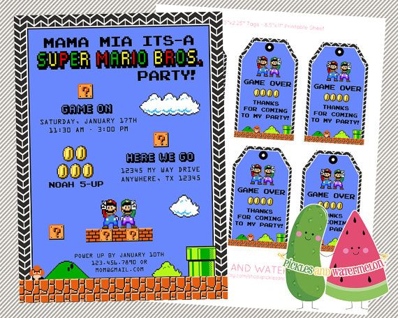 Super Mario Brothers invitation favor tags retro power up Mario