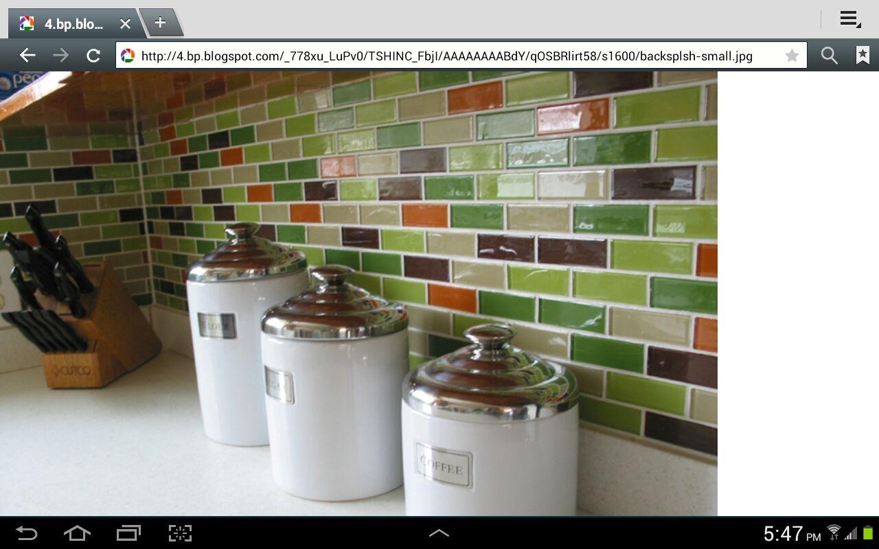 Multi color subway tile kitchen lounge pinterest subway multi color subway tile doublecrazyfo Images