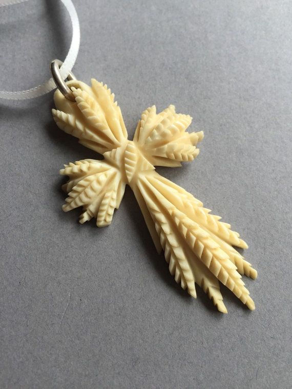 Antique  Hand Carved Wheat Sheaf Pendant by Vintageatmums on Etsy