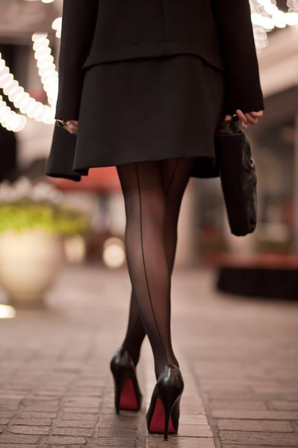 You, casually, black seamed stockings are