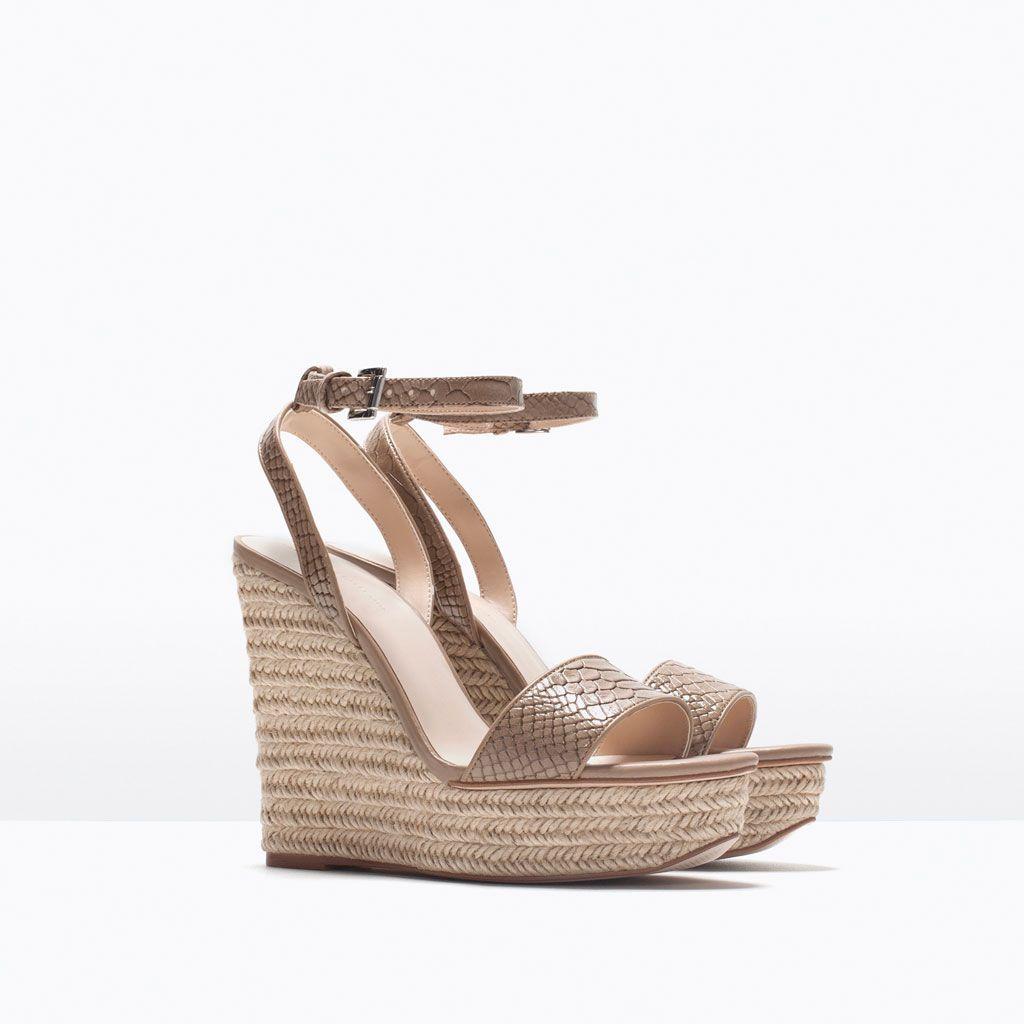 BUREAU - Milan serpent effet sandales à plateforme plate : Chaussure Fashion
