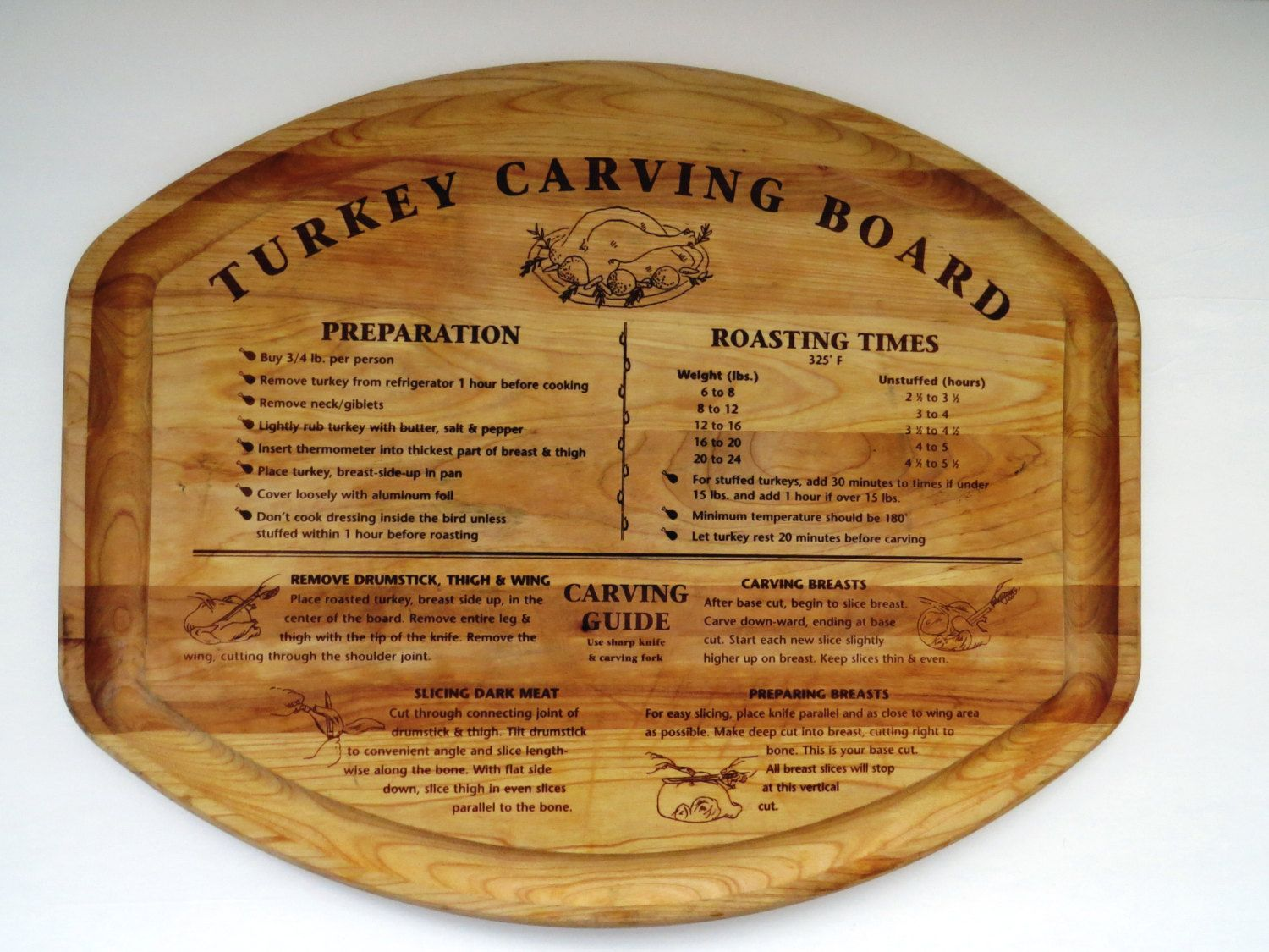 vintage wooden turkey carving board with instructions
