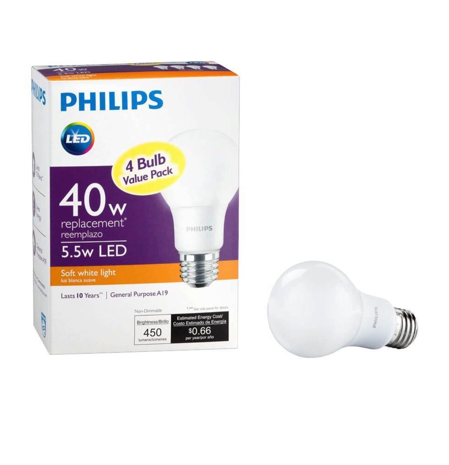 Philips 40W Equivalent Soft White A19 Non-Dimmable LED Household ...