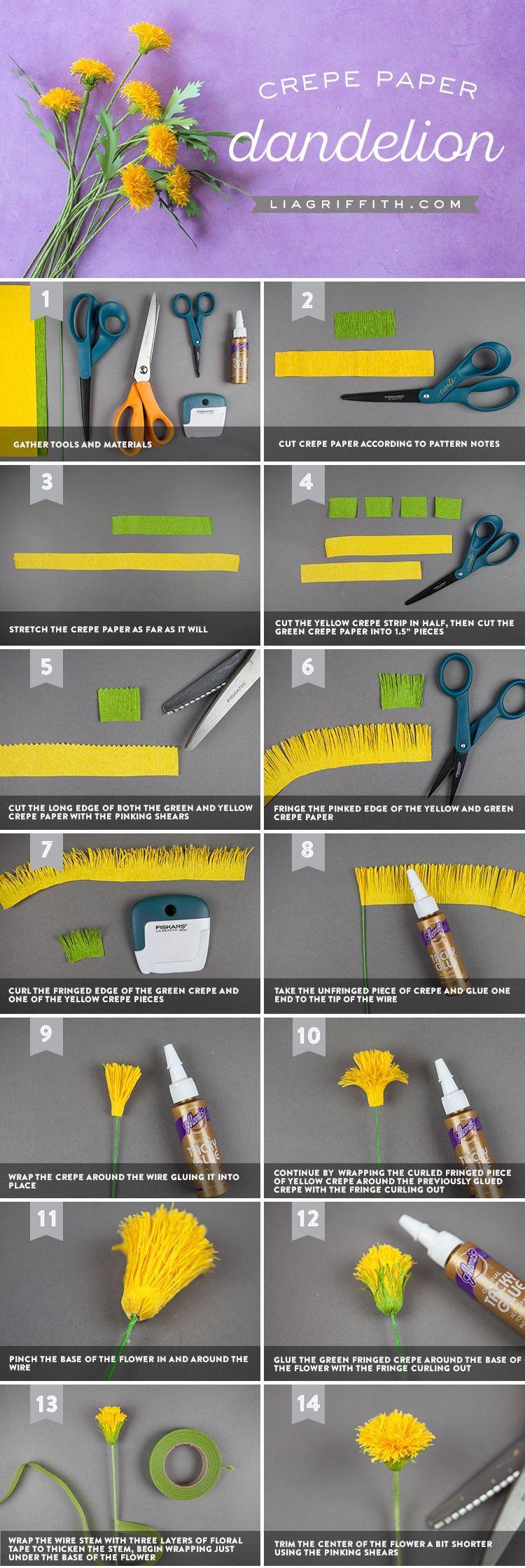 Craft an easy crepe paper dandelion for national dandelion day diy