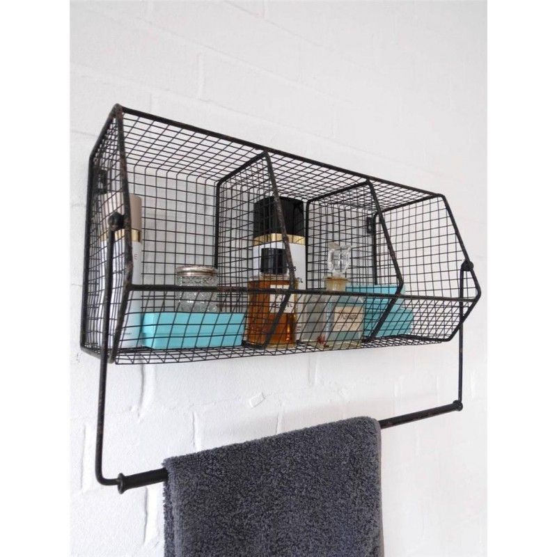 Kitchen Storage Metal Wire Wall Rack Shelving Display Shelf Industrial Black