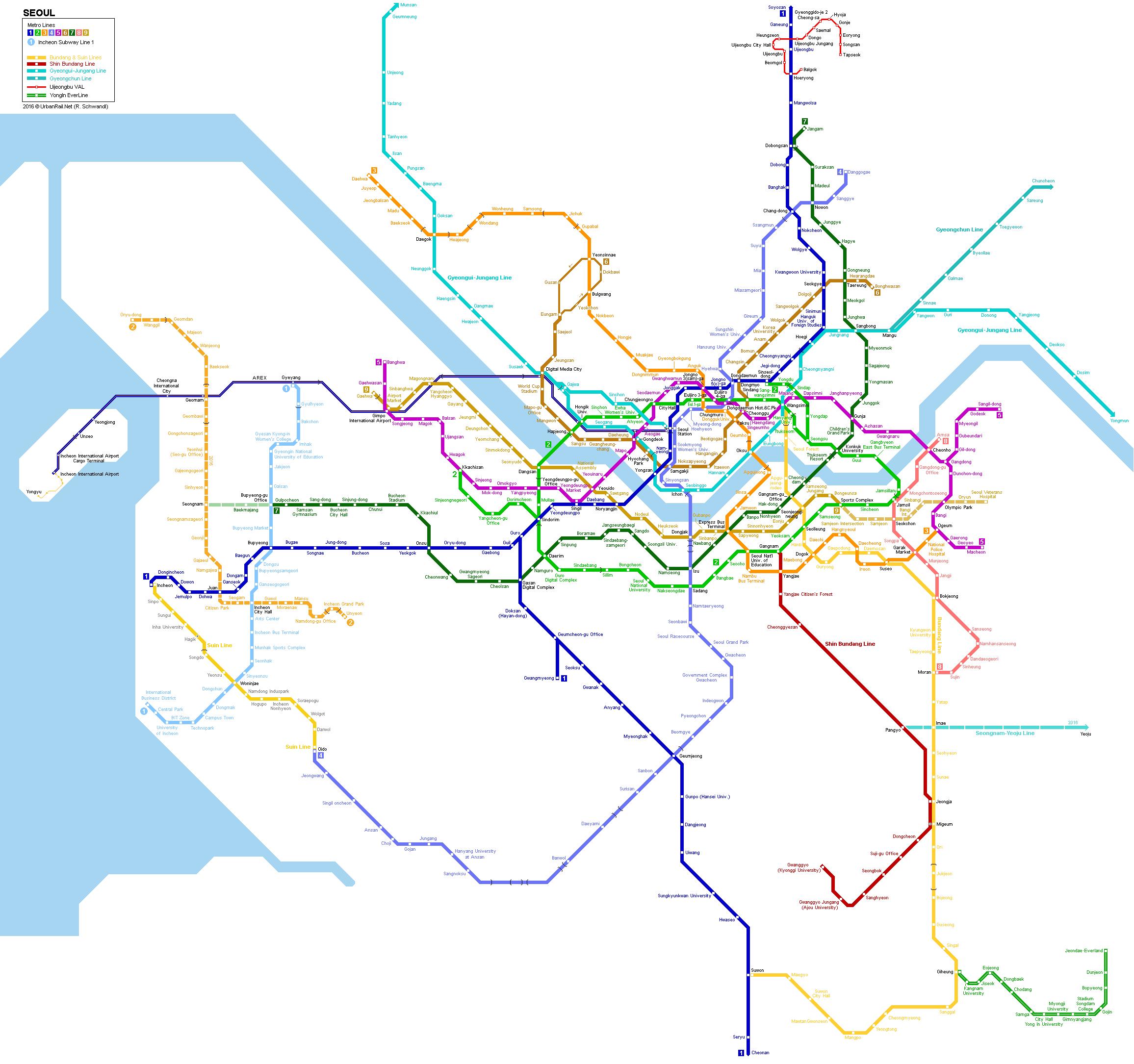 Seoul Subway Map 2000 © UrbanRail.Net