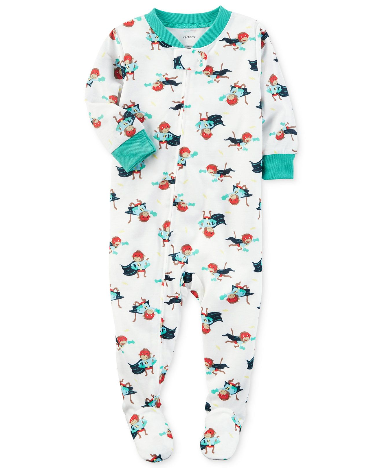 671f51801101 Carter s 1-Pc. Super Monkey-Print Footed Pajamas
