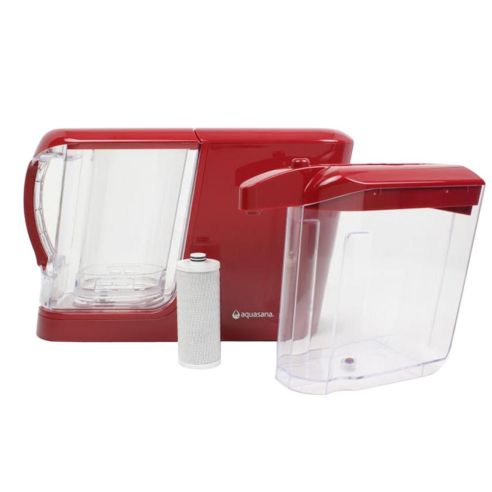 16-Cup Dispenser with 8-Cup Pitcher Water Filtration System in Red ...