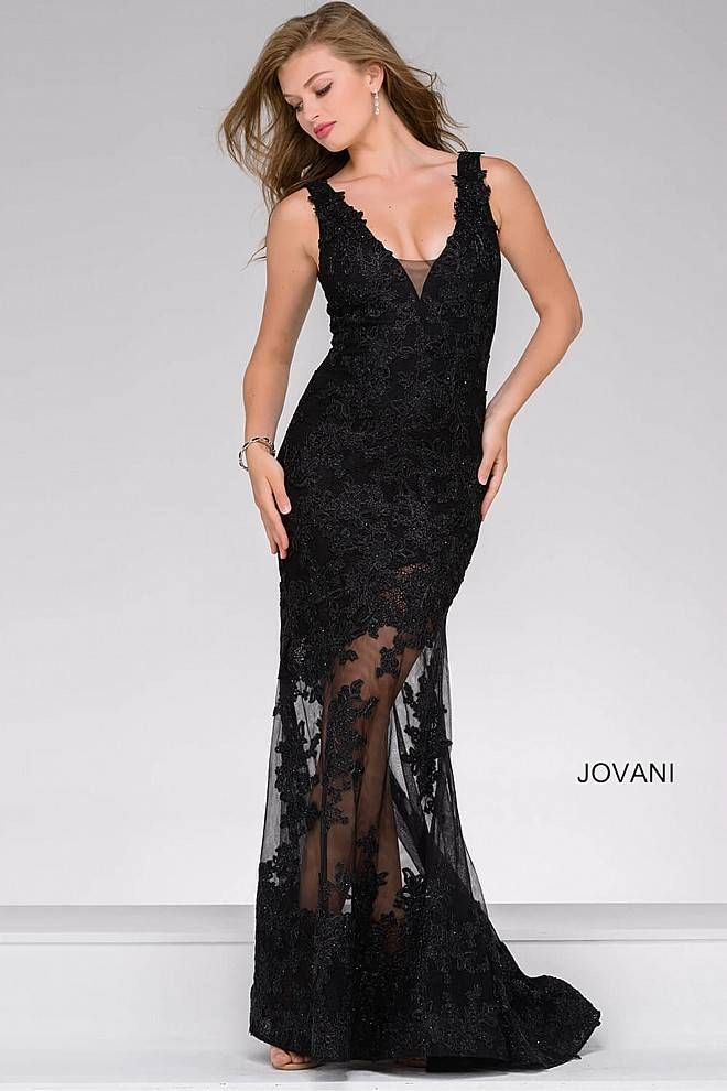 Classy Black Long Sleeveless Partly Sheer Dress Features Lace