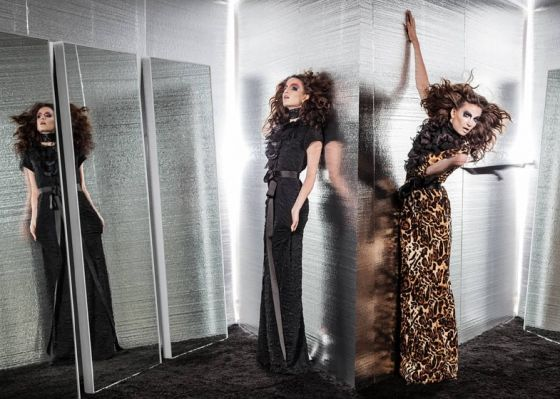 LOOK 9+10: gowns with flower petal decoration in black and animal print
