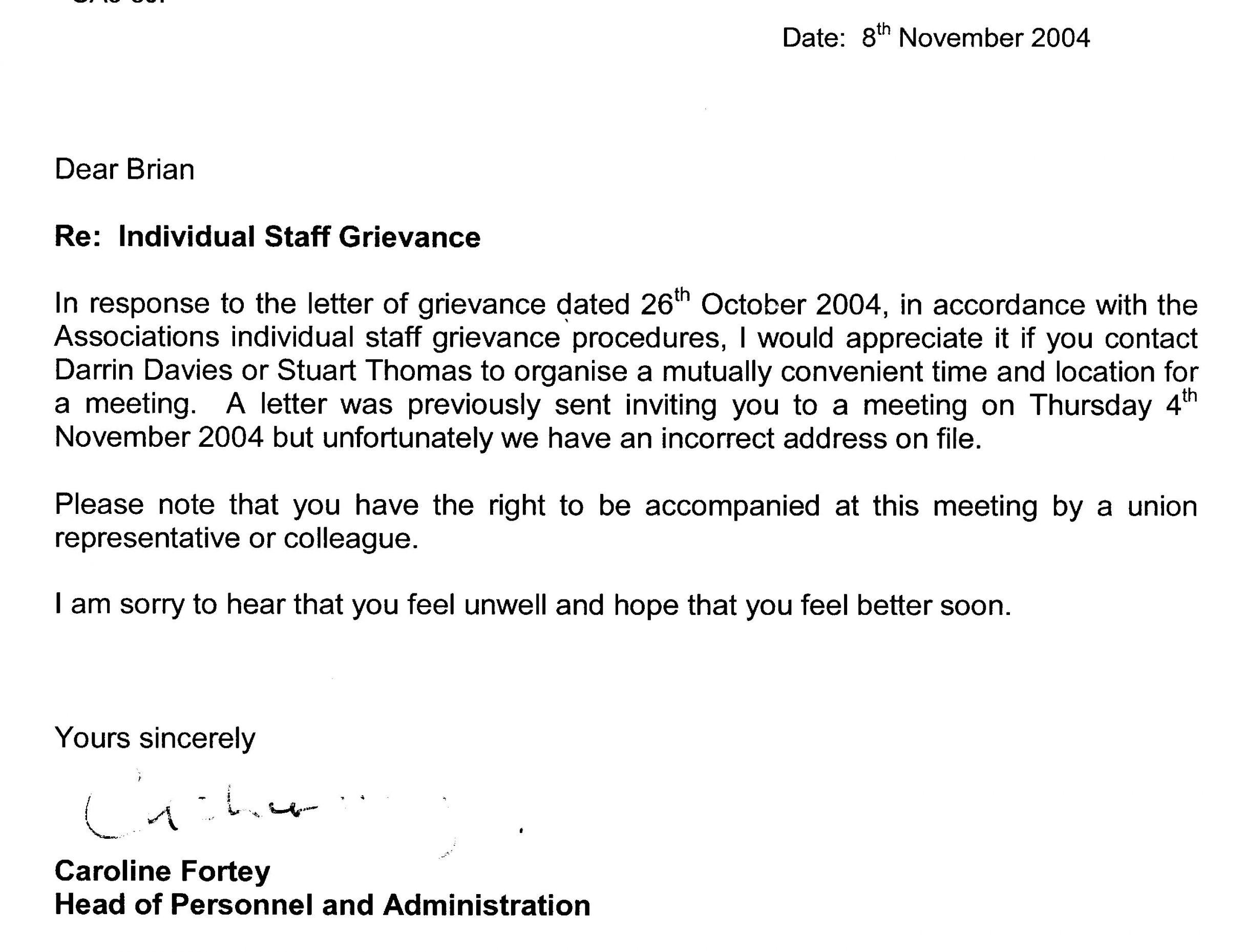 Grievance Response Letter Template in 2020 Letter