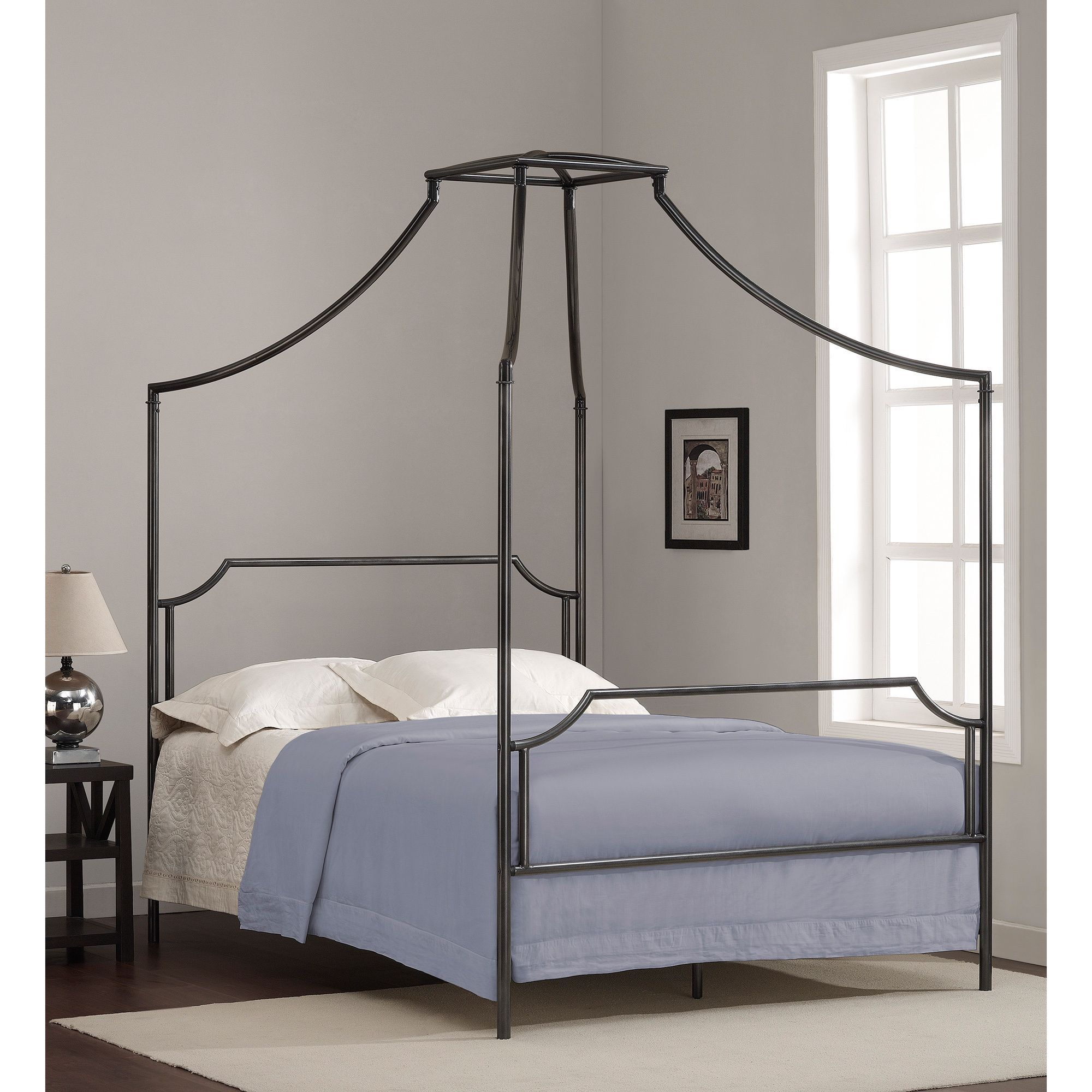 this beautiful full size bailey metal canopy bed will add style and whimsy to your - Iron Canopy Bed Frame