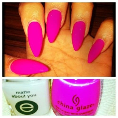 Hot Pink Matte Nails With Images Nails Trendy Nails Stiletto