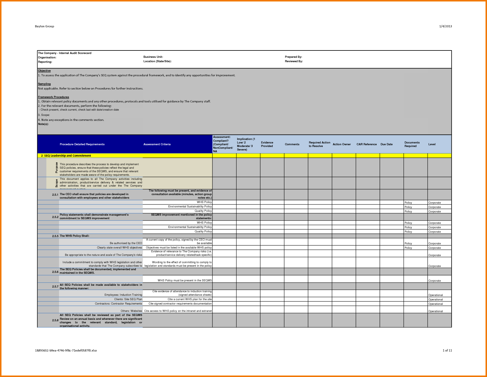 Professional Internal Audit Report Template Example With Blank Details  Table Form In Multi Colors Accent :  Audit Report Formats