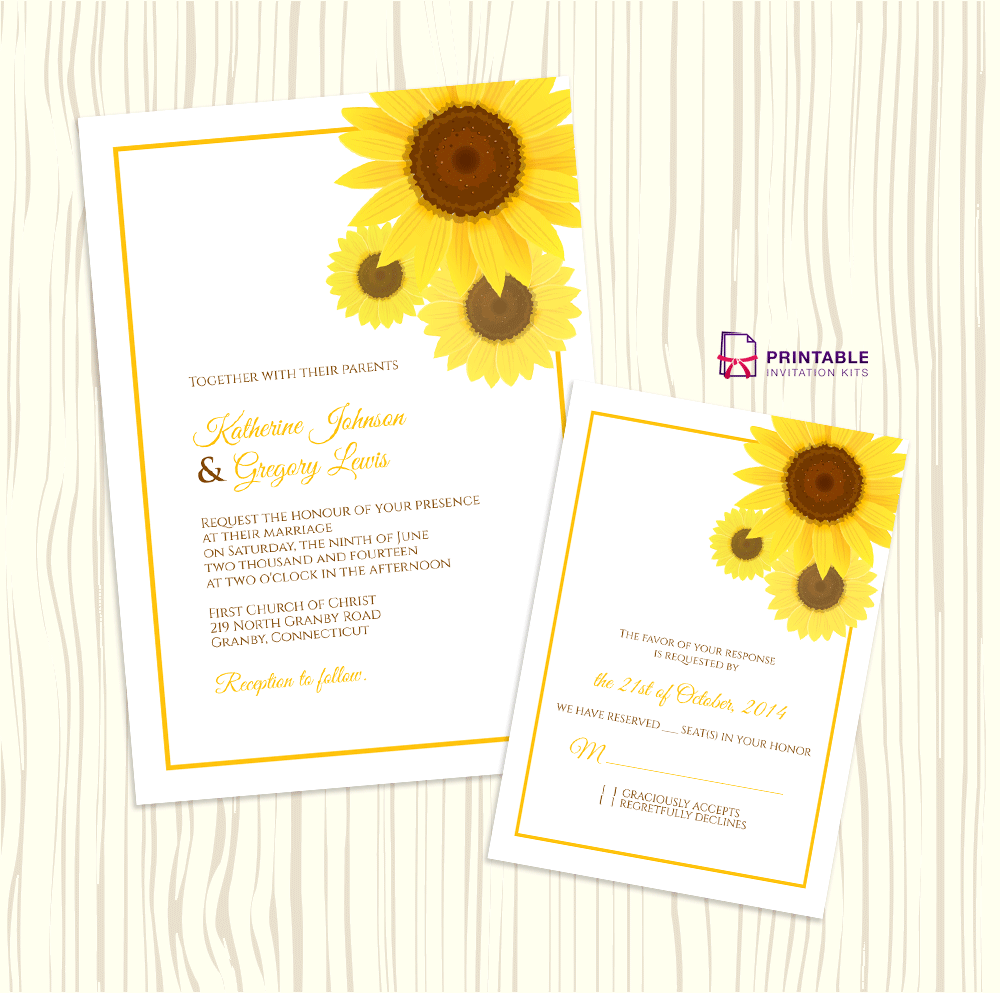 Free Pdf Sunflower Wedding Invitation And Rsvp Templates Easy To Edit Print At Home