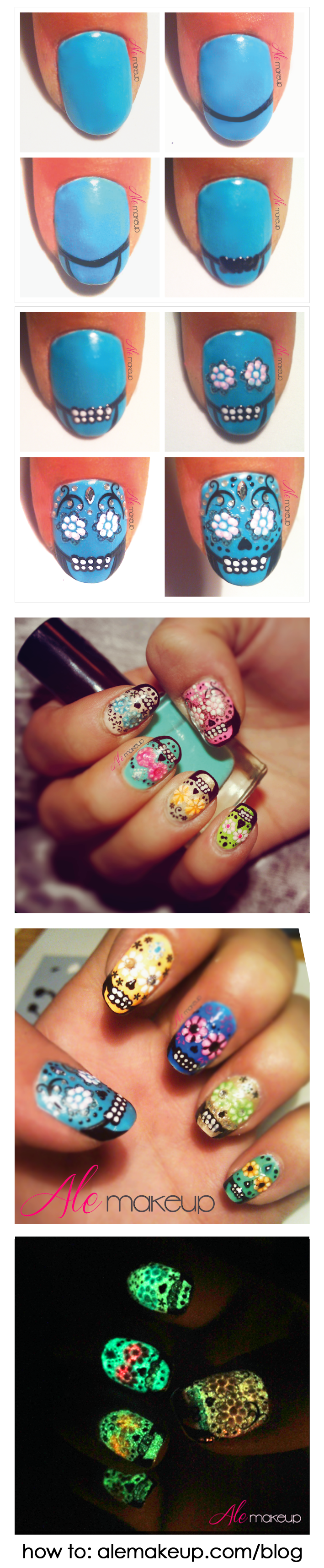 Day of the Dead nail art! If painting your face is too much, opt for ...