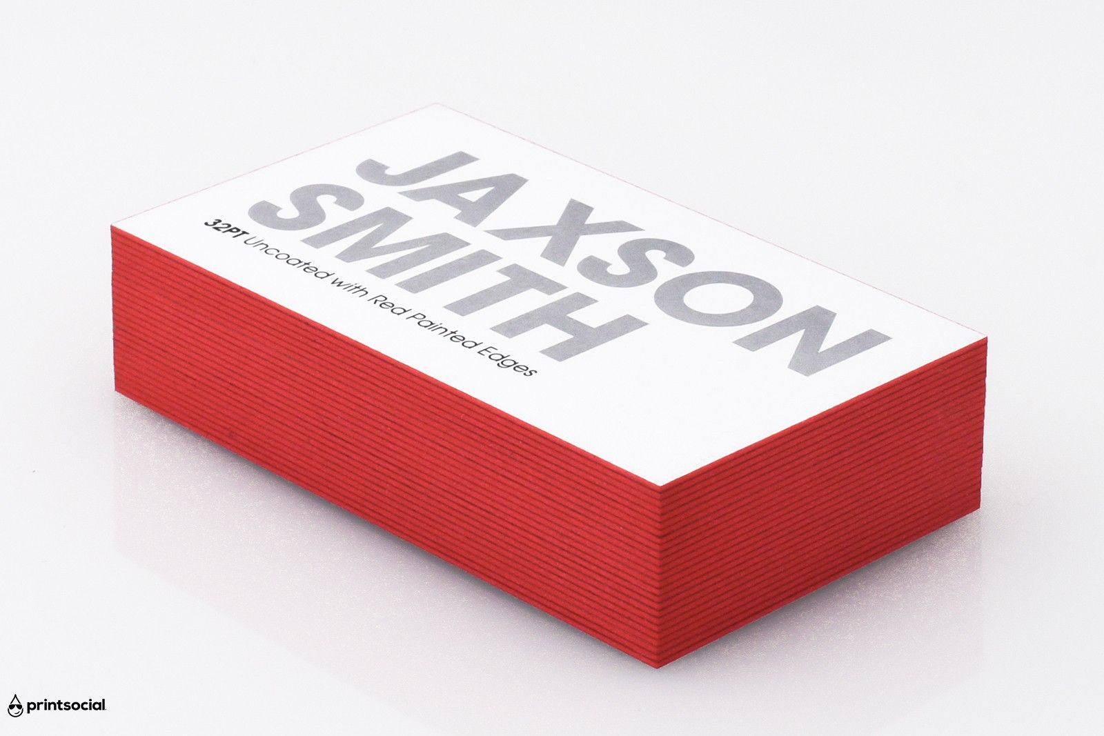 red edge painted business card printed on 32pt thick uncoated card stock