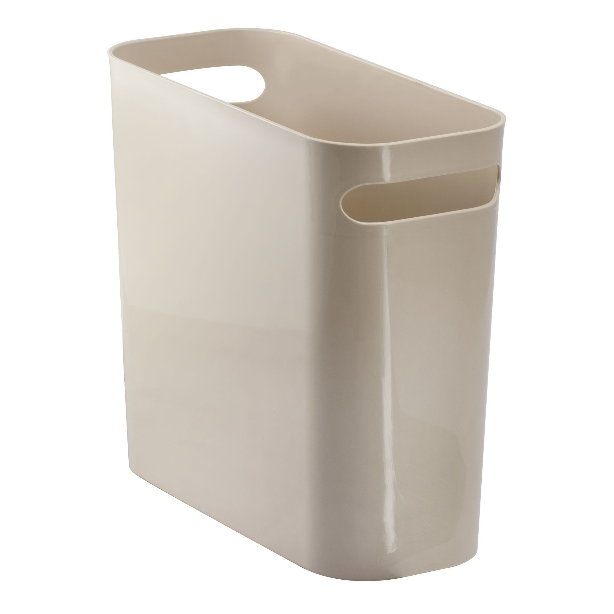 Mdesign Slim Rectangular Trash Can Wastebasket Garbage Container Bin With Handles For Bathrooms Kitchens Home Offices Dor Trash Can