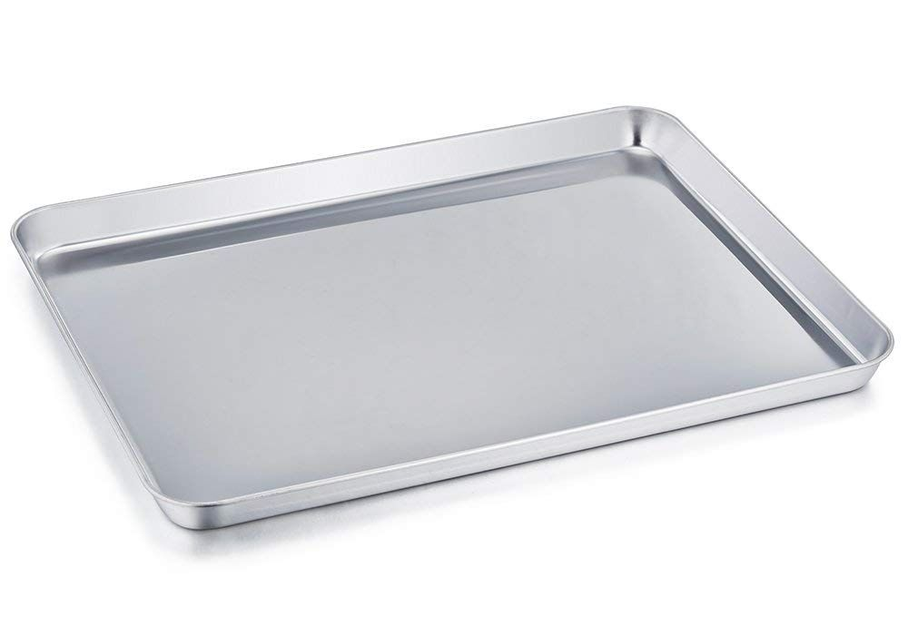 Teamfar Baking Sheet Stainless Steel Baking Pan Cookie Sheet Healthy And Non Toxic Rust Free And Less Stick Easy Pan Cookies Clean Dishwasher Easy Cleaning
