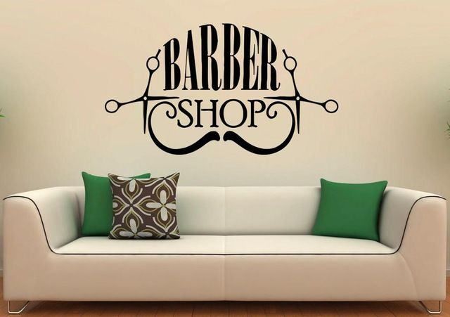 Promotion price Hairdressing Salon Wall Decal Scissors Mustache