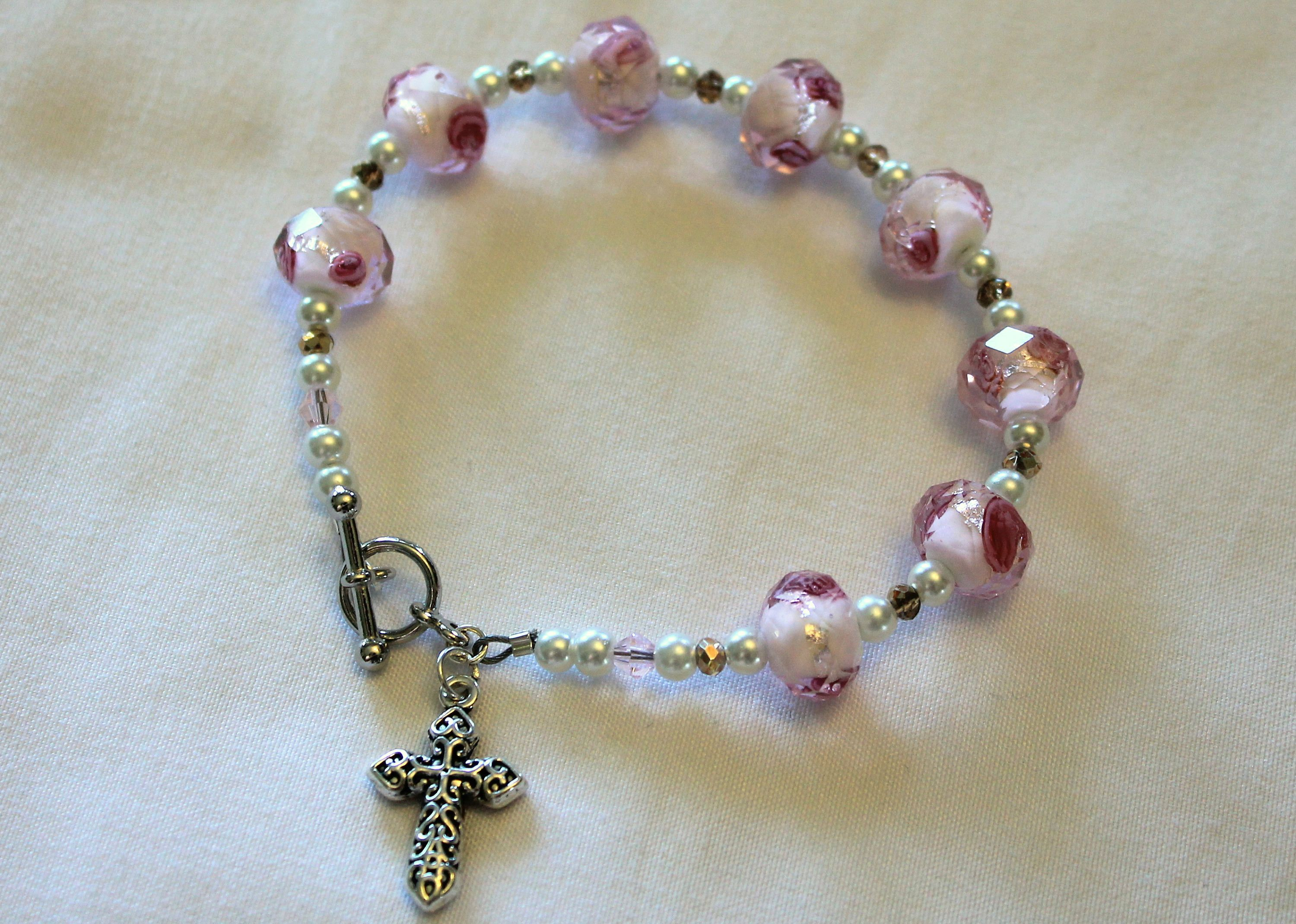 Pink Pearl And Gold Religious Bracelet By Momentofgrace On Etsy