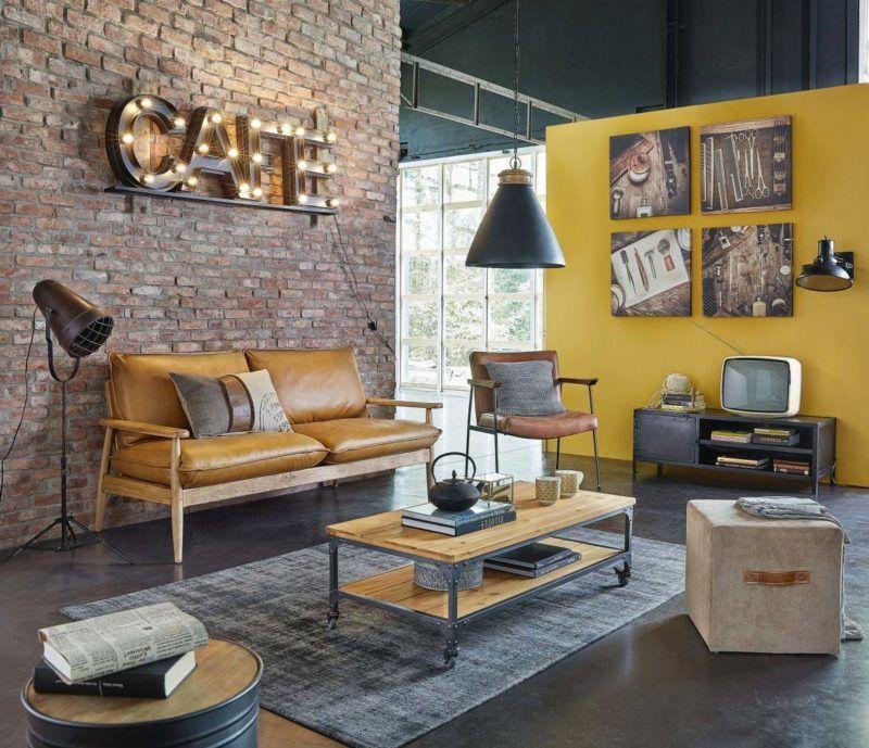 Meuble Tv Industriel 21 Modeles Pour La Deco Du Salon Deco Salon Industriel Canape Cuir Marron Decoration Salon Jaune