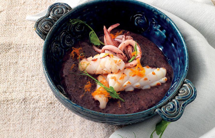 Calamari marinati su crema di riso Venere