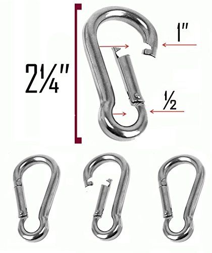 Set Of 4 2 Inch Stainless Steel 304 Spring Snap Link Hook Clip Carabinerkeychain Keyringcampingfishin Hiking Dog Leash Carabiner Keychain Stainless Steel 304