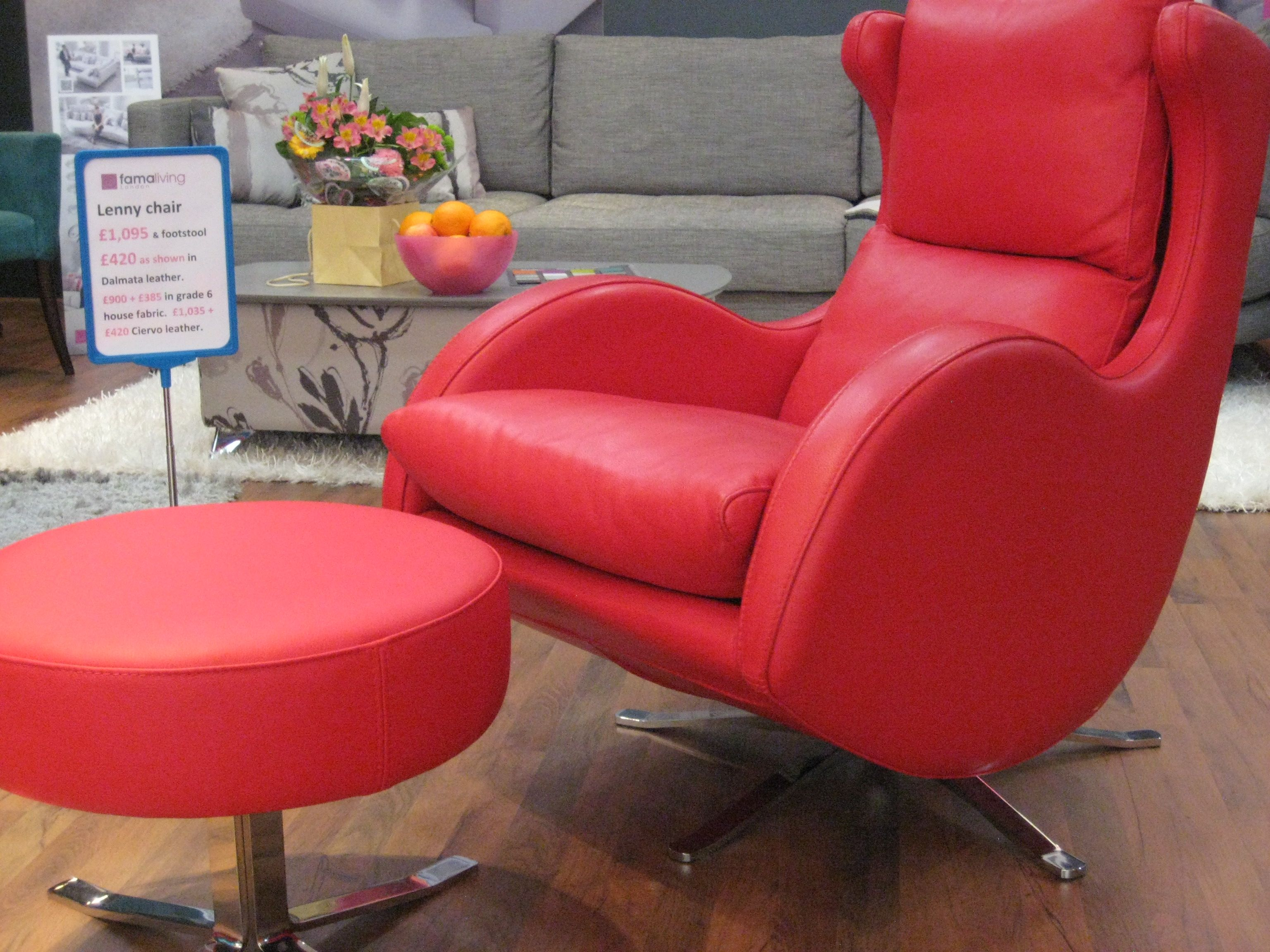 Fun and much loved red leather 62 swivel chair and