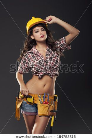Hot nude girl construction worker