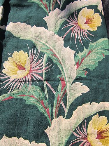 Vintage 40 S 50 S Green Hawaiian Barkcloth Drapery Fabric