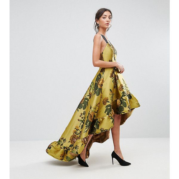ASOS TALL Jacquard Dipped Hem Maxi Dress ($110) ❤ liked on