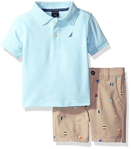 61d8f11cbffe Nautica Boys  Polo Shirt with Plaid Flat Front Short Set