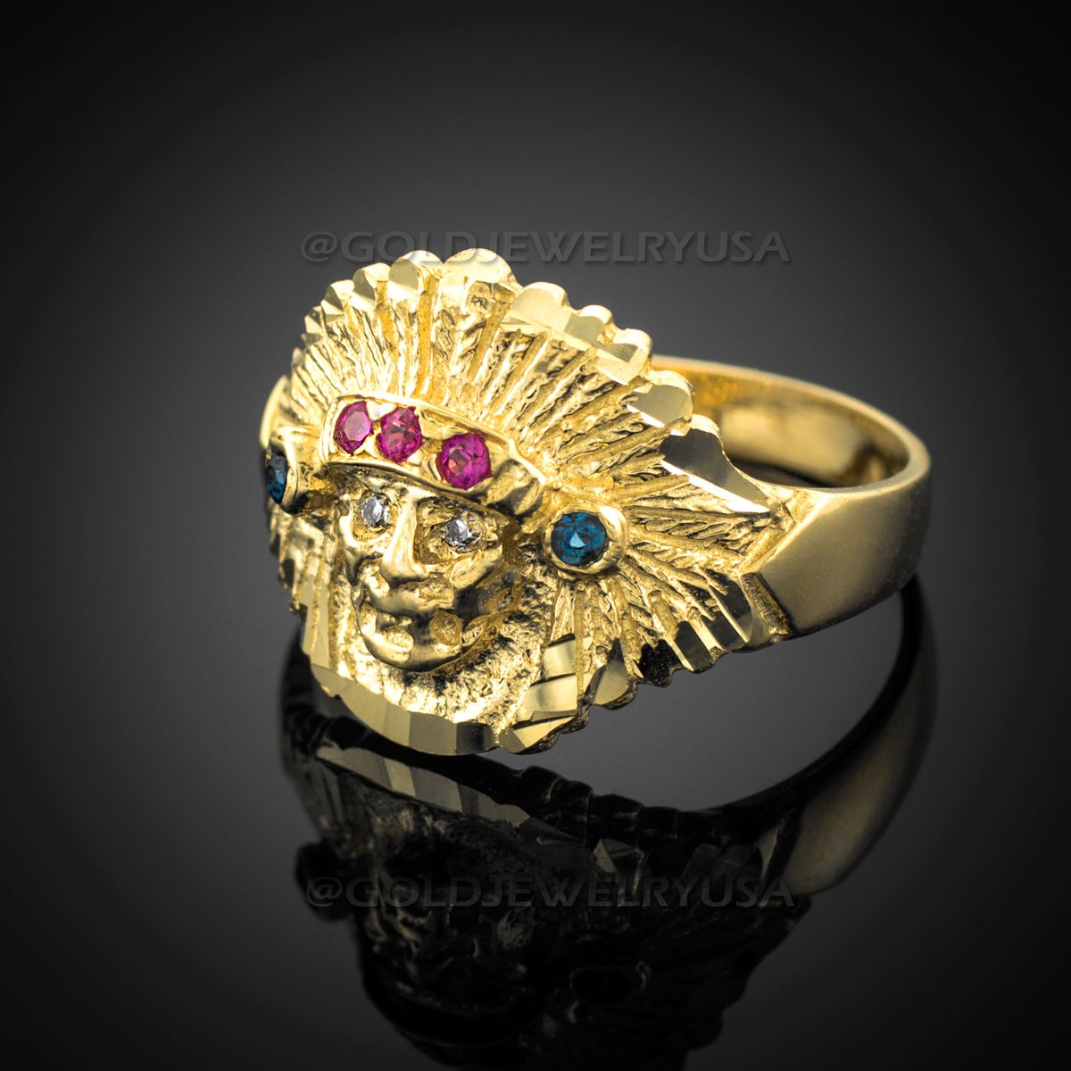Gold Indian Chief Cz Head Ring Yellow Gold Mens Rings Gold Birthstone Ring Head Ring