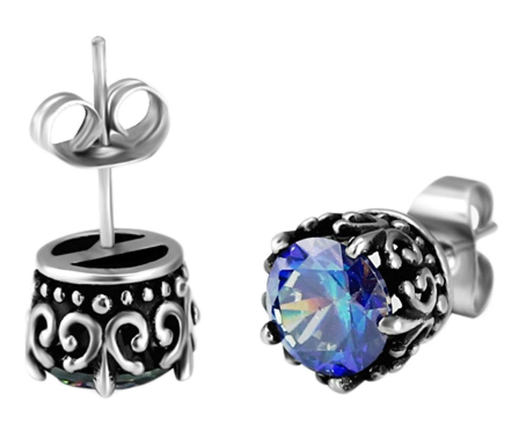 cz steel set sapphire s earrings stud mens stainless black men product