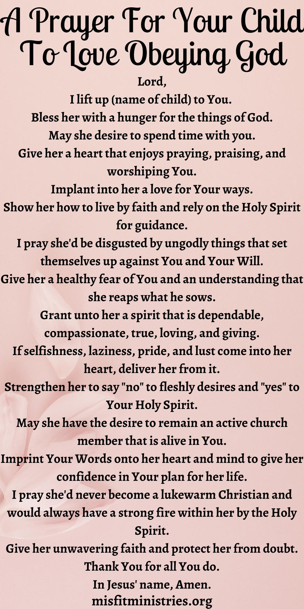 A Prayer For Your Child To Love Obeying God