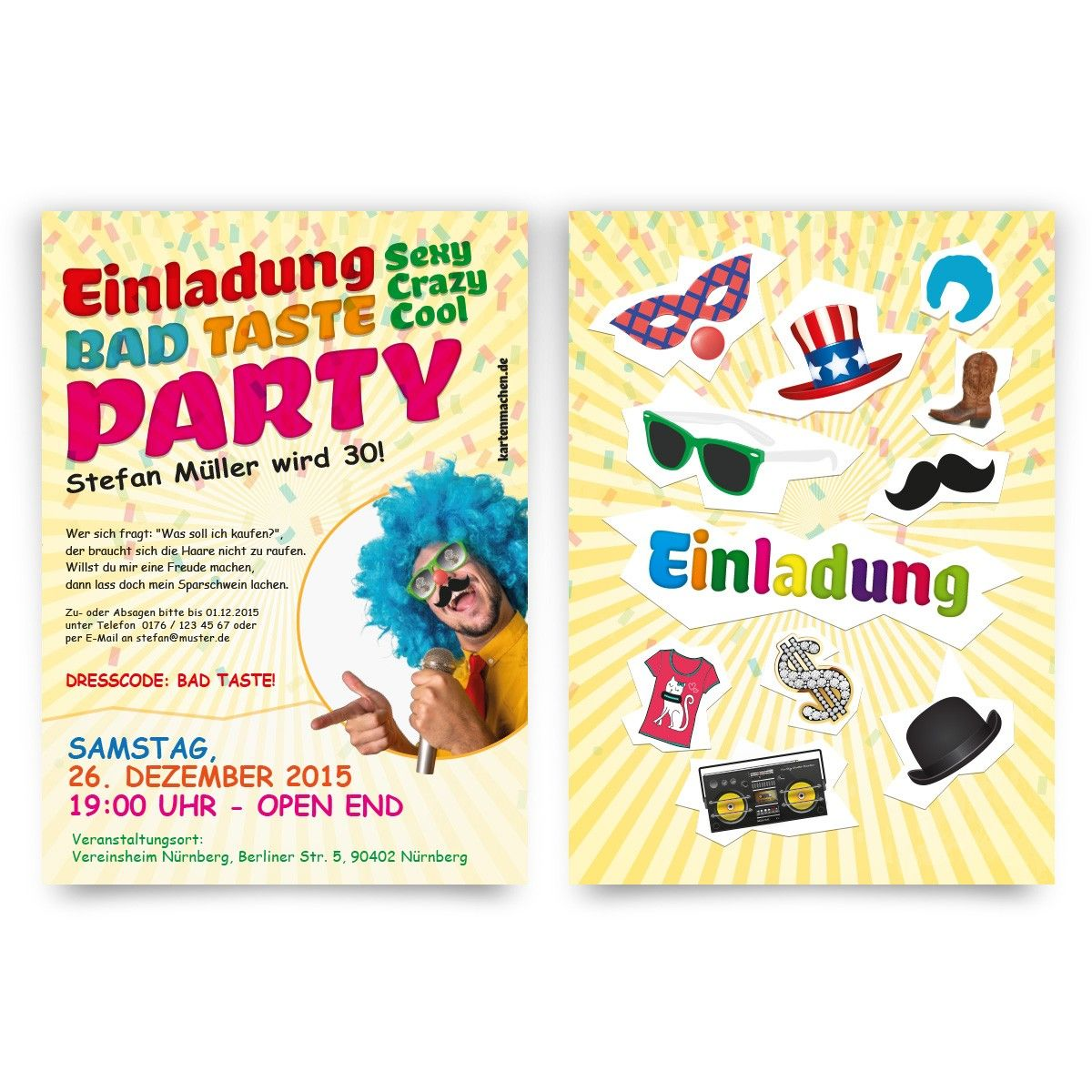 einladungen bad taste party geburtstag einladung geburtstagseinladung badtasteparty. Black Bedroom Furniture Sets. Home Design Ideas