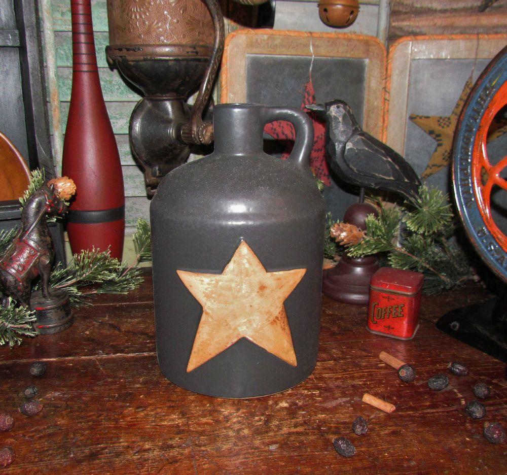 "Primitive Antique Vtg Style 8"" Black Star Ceramic Stoneware Whiskey Jug Crock #NaivePrimitive"