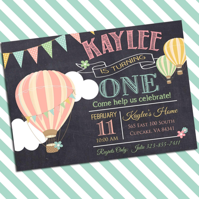 Hot Air Balloon Birthday Party Invitation -5x7 or 4x6 - Balloon ...