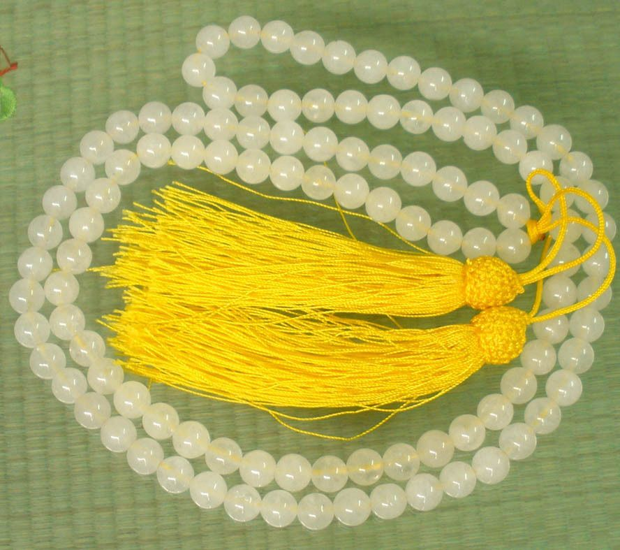 108 Natural White Jade Stone 8mm Beads Buddhist Buddha Prayer Mala Necklace BVV