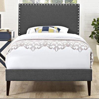 Mercer41 Clymer Upholstered Platform Bed Color Gray Size Queen