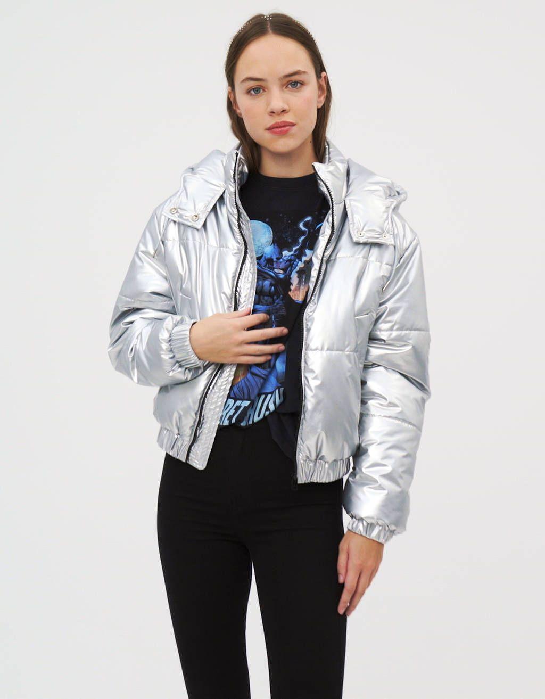 Metallic Puffer Jacket Jackets Coats Bershka Poland Jackets Puffer Jackets Metallic Jacket [ 1313 x 1024 Pixel ]