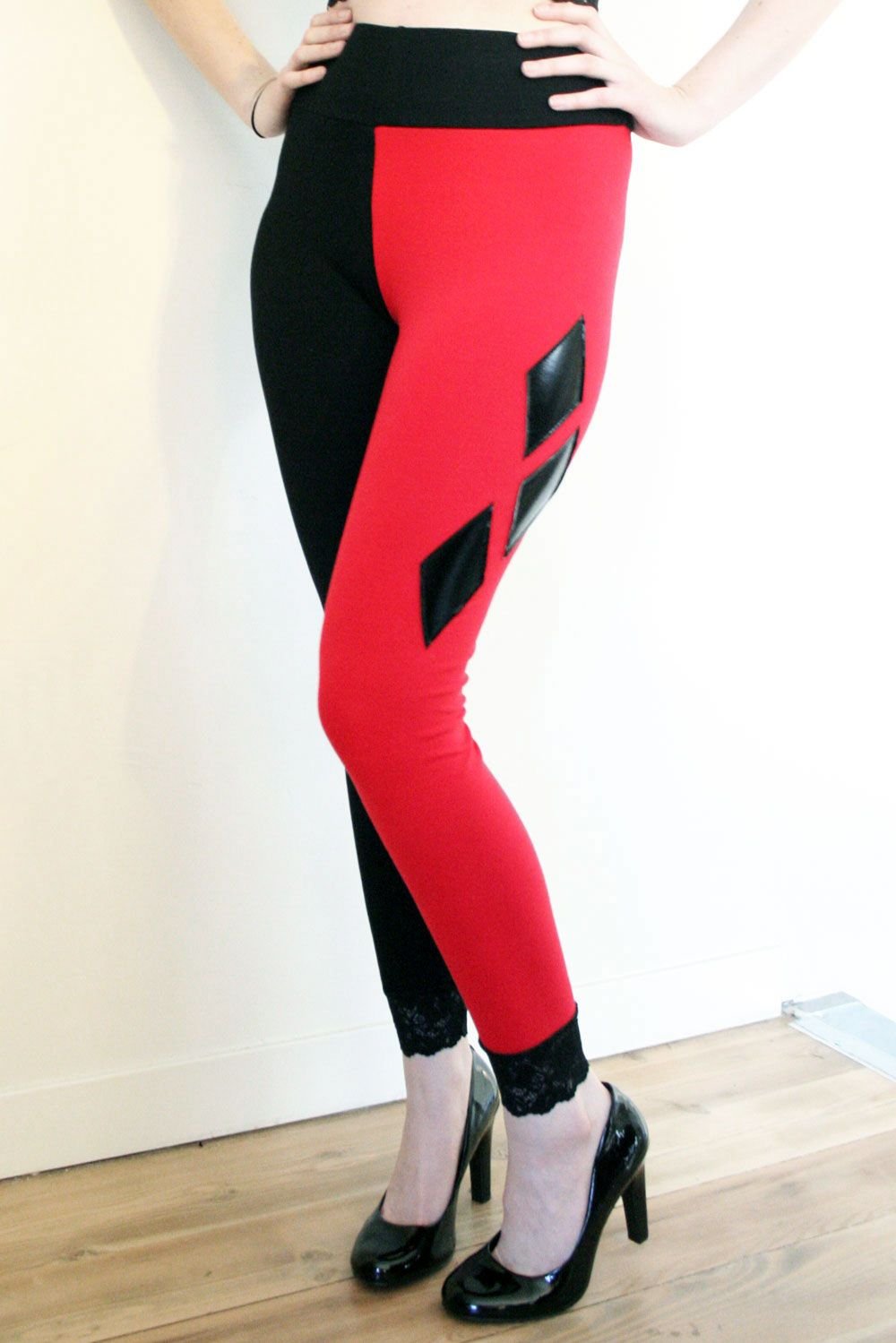 88f52dd79d9 Cotton Harley Quinn Diamond Leggings red black cosplay costume high-waisted plus  size lace trim handmade by Deranged Designs