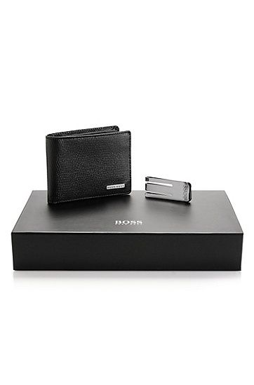'Gonto' | Leather Wallet and Money Clip Gift Set , Black